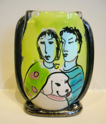 Bernstein Glass - Couple with Dog Vase border=