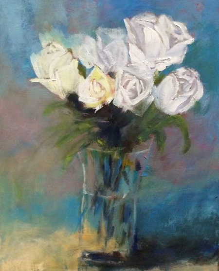 Nancy McClure - White Roses in Vase border=
