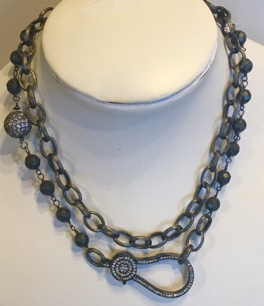 Sugarfoot Jewels - Grey Agate & Pave Necklace border=