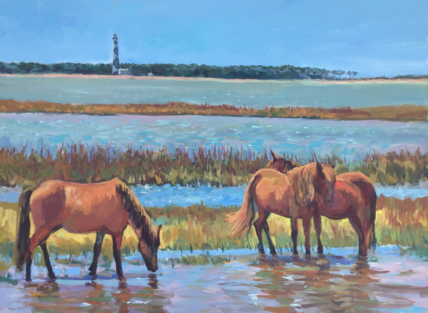 Steve Moore - Shackleford Ponies with Cape Lookout - Acrylic on Canvas - 30x40