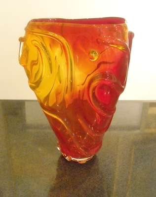 Seattle Glass Studio - String Theory Vase - Red - GLASS