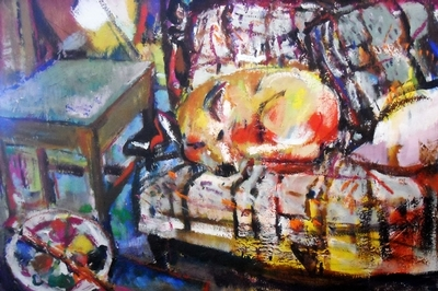 Title: Yellow Dog on a Plaid Couch #5655 , Size: 30x40 , Medium: Acrylic on Canvas , Price: $2,500
