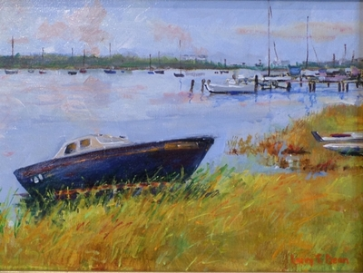 Title: Beached in Beaufort , Size: 9x12 , Medium: Acrylic on Canvas , Price: $325