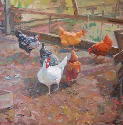 Title: Hefty Hens , Size: 40x40 , Medium: Oil on Canvas