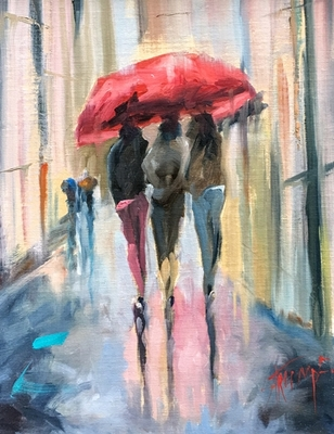 Title: Laughter in the Rain , Size: 18x14 , Medium: Oil on Canvas , Price: $1,400