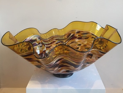 Seattle Glass Studio - Large Incalmo Bowl Yellow/Multi - GLASS