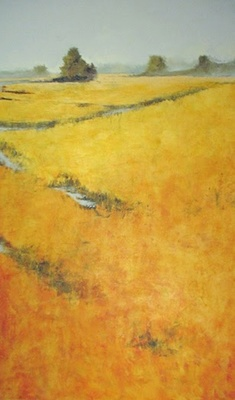 Title: The Fog Slipped In (On Little Cat Feet) , Size: 60x36 , Medium: Oil and Encaustic on Linen , Price: $4,800