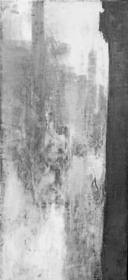 Title: City Series Graphite I , Size: 18 1/2 x 8 1/2 , Medium: Oil and Encaustic on Linen , Price: $600