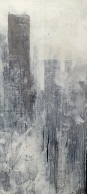 Title: City Series Graphite III , Size: 18 1/2 x 8 1/2 , Medium: Oil and Encaustic on Linen , Price: $600