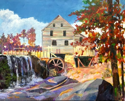 Title: Yates Mill October , Size: 24x30 , Medium: Acrylic on Canvas , Price: $1,100