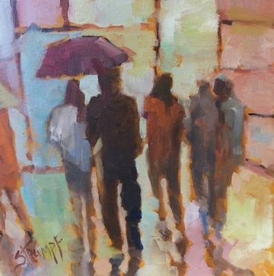 Gina Strumpf - Umbrellas II - Oil on Canvas - 12x12