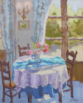 Title: Gilles' Dining Room , Size: 20x16 , Medium: Oil on Canvas , Price: $1,800