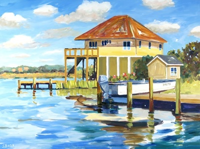 Title: A Perfect Day at the Beach Cottage , Size: 30x40 , Medium: Oil on Canvas , Price: $2,000
