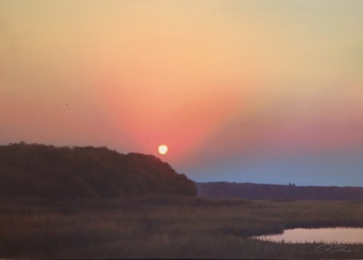 Title: Sunset Inland , Size: 22x30 , Medium: Oil on Canvas , Price: $1,500