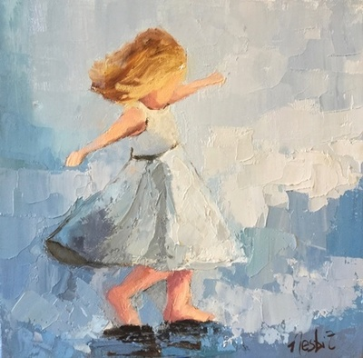 Title: Blue Dance , Size: 12x12 , Medium: Oil on Canvas , Price: $650