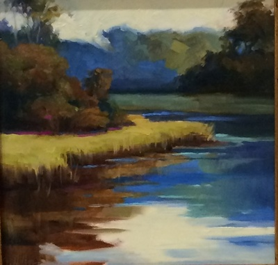 Sandy Nelson - Corolla Stream - Oil on Canvas - 8x8