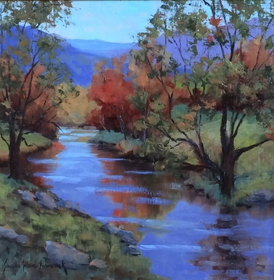 Title: Mountain Reflections , Size: 12x12 , Medium: Oil on Linen , Price: $550