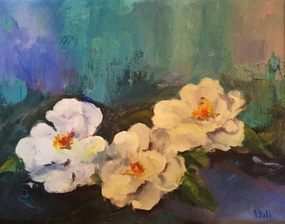 Title: White Camelias , Size: 11x14 , Medium: Oil on Linen , Price: $525