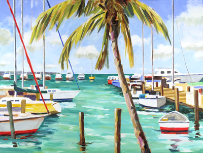 Title: Conch Marina and Palm Tree, Key West , Size: 30x40 , Medium: Oil on Canvas , Price: $2,000