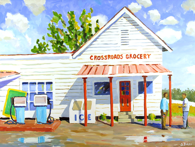 Title: Crossroads Grocery , Size: 36x48 , Medium: Oil on Canvas , Price: $2,900