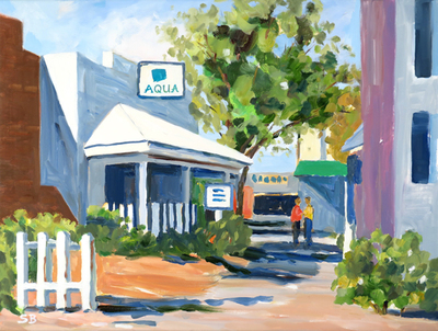 Title: Aqua Restaurant, Beaufort, NC , Size: 24x18 , Medium: Oil on Canvas , Price: $850