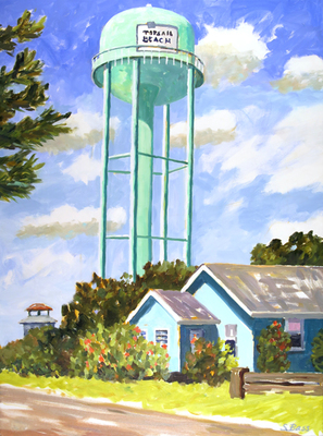 Title: Topsail Island Water Tower and Turquoise Beach House , Size: 40x30 , Medium: Oil on Canvas , Price: $2,000