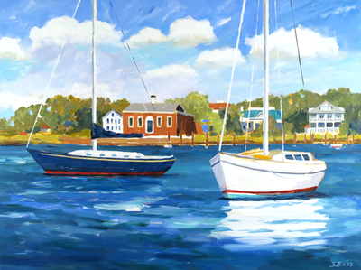 Title: Two Sailboats Moored Along Taylors Creek , Size: 30x40 , Medium: Oil on Canvas , Price: $2,000