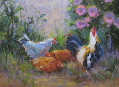 Title: Three French Hens , Size: 18x24 , Medium: Oil on Canvas , Price: $1,400