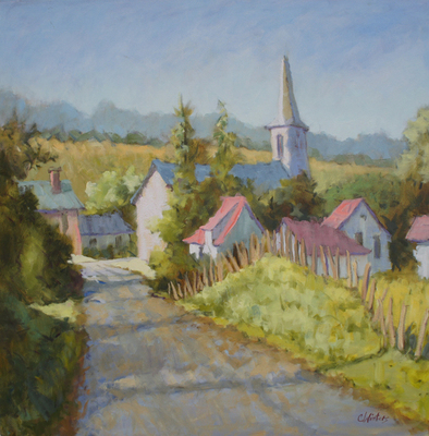 Title: Normandy Hamlet , Size: 30x30 , Medium: Oil on Canvas , Price: $4,500