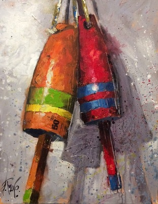 Title: Buoys Messing Around , Size: 30x24 , Medium: Acrylic on Canvas , Price: $2,400