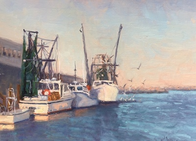 Title: Wanchese Workboats , Size: 12x16 , Medium: Oil on Linen , Price: $895