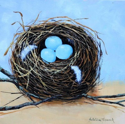 Title: Robin's Nest with Feathers , Size: 12x12 , Medium: Oil on Linen , Price: $550