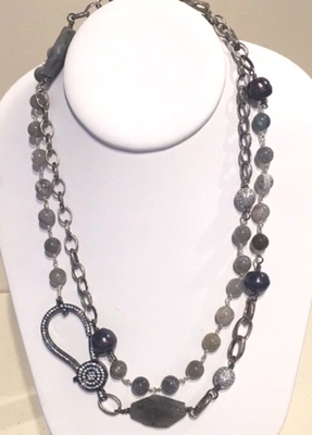 Sugarfoot Jewels - Labradorite & Pave Necklace