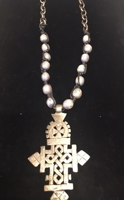 Sugarfoot Jewels - Coptic Cross, Leather & Pearls