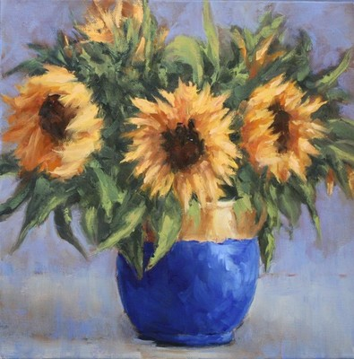 Sheila Wood Hancock - Sunflowers and Blue Vase