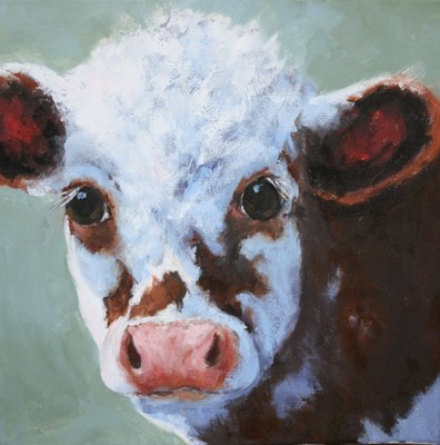Title: Calf In Shadows , Size: 12x12 , Medium: Oil on Canvas , Price: $475