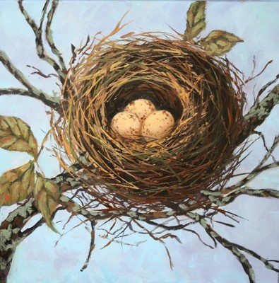 Title: Speckled Eggs In The Branches , Size: 12x12 , Medium: Oil on Canvas , Price: $475