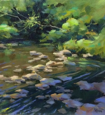 Title: River Rocks , Size: 12x12 , Medium: Oil on Canvas , Price: $350