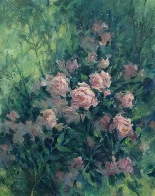 Title: Rambling Roses , Size: 24x20 , Medium: Oil on Canvas , Price: $1,200