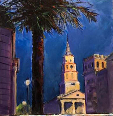 Title: Charleston Sets , Size: 12x12 , Medium: Acrylic on Canvas , Price: $385