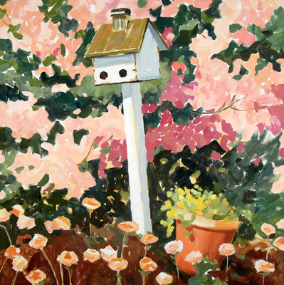 Sharon Bass - White Birdhouse & Oleander