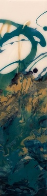 Title: Teal Tranquility II , Size: 24x6 , Medium: Oil and Resin on Board , Price: $325