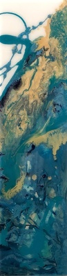 Title: Teal Tranquility III , Size: 24x6 , Medium: Oil and Resin on Board , Price: $325