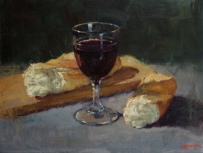 Title: Bread and Wine , Size: 12x16 , Medium: Oil on Canvas , Price: $1,125