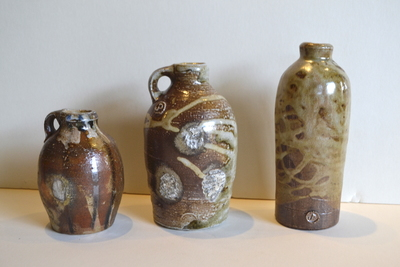 Title: Set of 3 Woodfired Bottles , Medium: Clay , Price: $90