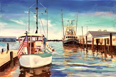 Title: Oriental Harbor , Size: 24x36 , Medium: Acrylic on Canvas , Price: $1,300