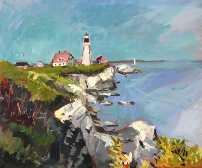 Title: Portland Head Lighthouse , Size: 20x24 , Medium: Acrylic on Canvas , Price: $900