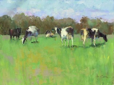 Title: The Moos Have It , Size: 30x40 , Medium: Oil on Canvas , Price: $3,500
