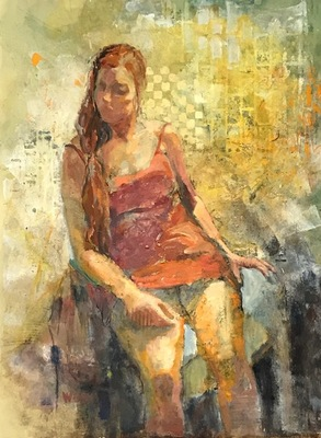 Title: Orange Dress , Size: 30x22 , Medium: Water Color on Paper , Price: $1,800