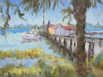 Title: Pier to Shrimp Boats , Size: 9x12 , Medium: Oil on Board , Price: $500